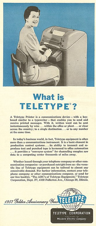 Teletype Corporation - A Teletype Corporation advertisement from 1957.