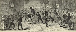 "Whiskey Rebellion - ""Famous Whiskey Insurrection in Pennsylvania"", an 1880 illustration of a tarred and feathered tax collector being made to ride the rail"