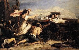 Agustina de Aragón - Agustina, maid of Aragón, fires a gun on the French invaders at Zaragoza (David Wilkie)