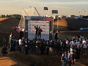 2011 UCI BMX Supercross World Cup - Marc Willers and Shanaze Reade on the podium in London