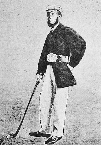 "The Open Championship - Willie Park Sr., the first ""Champion Golfer of the Year"",  wearing the Challenge Belt, the winner's prize at The Open until 1870"