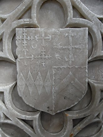 Robert Willoughby, 1st Baron Willoughby de Broke - One of six similar Escutcheons of Robert Willoughby, some shown within the cordon of the Order of the Garter, on his tomb at Callington, blazoned: Quarterly, 1st grand quarter quarterly, 1st and 4th a cross crosslet double crossed 2nd and 3rd a cross moline; a crescent superimposed on the fess-point for difference; (Willoughby) 2nd grand quarter, a cross fleurie (Latimer) 3rd grand quarter, 4 fusils in fess each charged with an escallop (Cheyne) 4th grand quarter, a chevron within a bordure engrailled (Stafford)