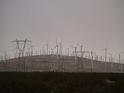 Wind turbines and power lines in Whitewater, California