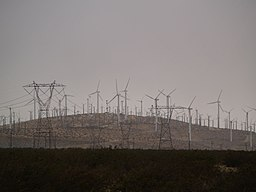 Wind turbines and power lines in Whitewater, California.jpg