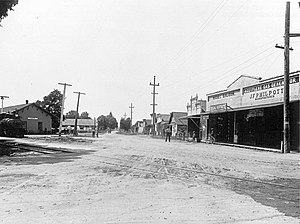 Windsor, California - Northwestern Pacific Railroad depot and surrounding street in Windsor, 1900