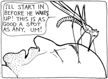 A giant mosquito drinks the blood of a sleeping man.