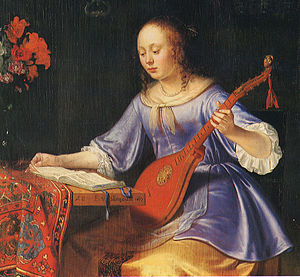 "Cittern - ""Woman with cittern"", canvas painted 1677 by Pieter van Slingelandt (ca. 1630-1691)."