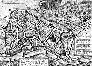Siege of Worcester - Worcester City defences (1651) showing civil war additions including the extensive works to the south and south-east (the map is aligned with east to the top) by Treadway Nash.