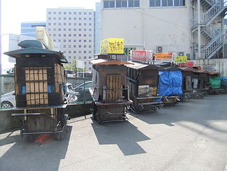 Yatai (food cart) - Closed yatai in a car park in Fukuoka, Japan.