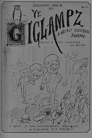 Lafcadio Hearn - Cover page of first issue of Ye Giglampz, a satirical weekly published in 1874 by Lafcadio Hearn and Henry Farny