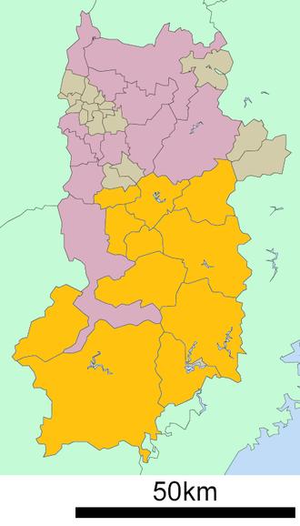 Yoshino District, Nara - Location of Yoshino District in Nara Prefecture