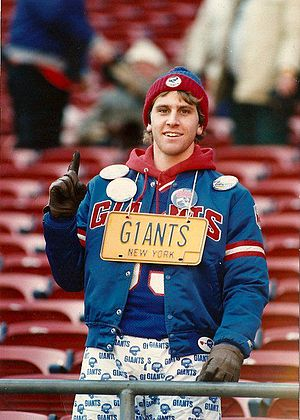 "License Plate Guy - A young Joe at Giants Stadium wearing his first plate ""G1ANTS"""