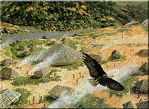 Coyaha people - Yuchi Town, painting by Martin Pate (1990) of 18th-century village, based on archaeological data. Yuchi Town within the area of present-day Ft. Benning, Georgia.