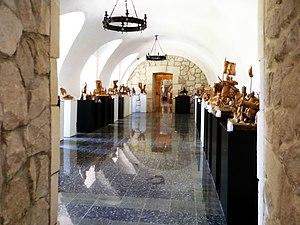Zbarazh Castle - Hall of wooden sculptures.