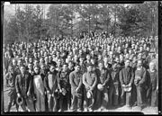 """""""A group of several hundred workers at Norris Dam construction camp site during noon hour."""" - NARA - 532734"""