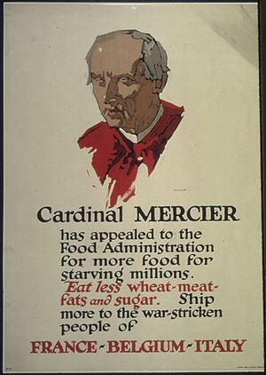 "Désiré-Joseph Mercier - Image: ""Cardinal Mercier has appealed to the Food Administration for more food for starving millions. Eat less wheat meat... NARA 512580"