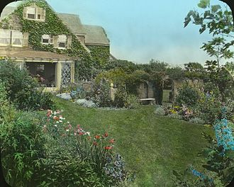 Edith Bouvier Beale - Grey Gardens, Joseph Greenleaf Thorp, architect, 1897. Landscape by Anna Gilman (Mrs. Robert C.) Hill. Robert C. Hill acquired the house and four acres and half in 1913; Edith Bouvier Beale owned the house from the 1920s