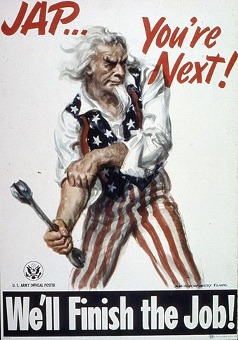 "U.S. Army propaganda poster depicting Uncle Sam preparing the public for the invasion of Japan after ending war on Germany and Italy ""Jap...You're Next^ We'll Finish the Job"" - NARA - 513563.jpg"