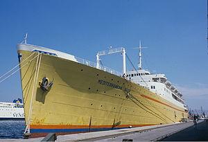 """Chandris Line - Image: """"Mediterranean Star"""" Piraeus, 1984"""