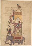 """The Elephant Clock"", Folio from a Book of the Knowledge of Ingenious Mechanical Devices by al-Jazari MET DP234075.jpg"