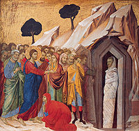 'The Raising of Lazarus', tempera and gold on panel by Duccio di Buoninsegna, 1310-11, Kimbell Art Museum.jpg