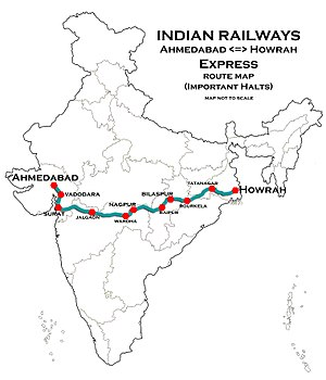 (Ahmadabad - Howrah) Express Route map.jpg
