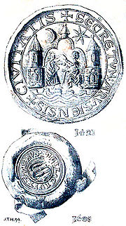 The Aarhus city seal from 1421 and 1608.