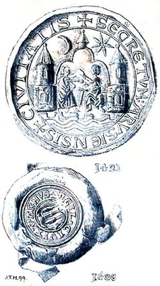 Coat of arms of Aarhus - Image: Århus segl 1421 1608 jth