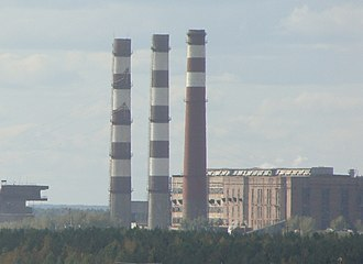 Koryazhma - Image: Дымовые трубы ТЭЦ Котласского ЦБК