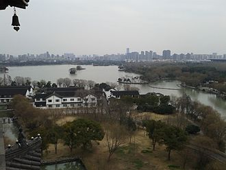 South Lake (Jiaxing) - A view of Nanhu and the city of Jiaxing in the background