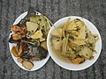 0099Nilagang repolyo, petsay Tagalog, kamote, patatas, kamatis at Pritong Dalag (Bulig) sa tanglad 01.jpg