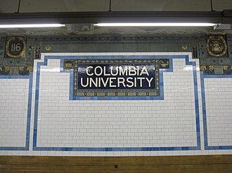 116th Street–Columbia University (IRT Broadway–Seventh Avenue Line) - Image: 116th Street Columbia University IRT 002
