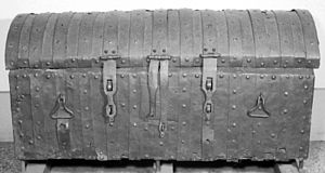 Muniment - Iron covered muniment chest, 14th century, used by the English Exchequer to store documents