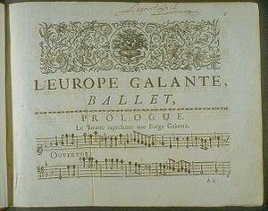 Galant music - Image: 1698 Campra L'Europe Galante