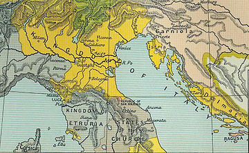 The Kingdom of Italy in 1807, with Istria and Dalmatia, shown in yellow 1807KingdomItaly.jpg