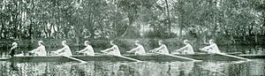 Tom Fennell - 1895 Cornell varsity crew (Henley) on the Thames River. Fennell is 5th form the left