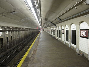 190th Street (IND Eighth Avenue Line) - Uptown platform
