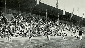 Athletics at the 1912 Summer Olympics – Men's 200 metres - The start of the final.