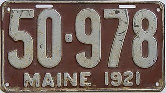 Vehicle registration plates of Maine - Image: 1921 Maine license plate