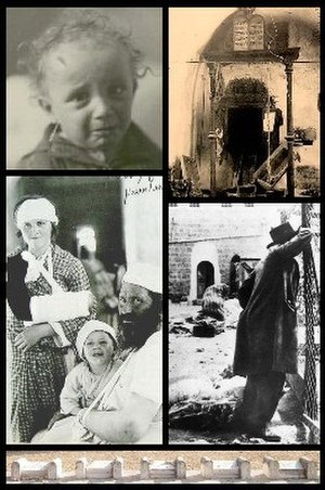 1929 Hebron massacre - From top-left, clockwise: Shlomo, son of Eliezer Dan Slonim Dwek, aged 1, survives with wounds to his hand, wrist and forehead; The Holy Ark of the Sephardi Synagogue of Abraham is ransacked; A survivor reflecting in the aftermath of the slaughter; Family Kolstein recover from their injuries. Bottom: Memorials to murdered rabbinical students in the old Jewish cemetery.