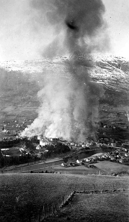 Scene from the German bombing of Voss 1940 Bombing of Voss, 02.jpg