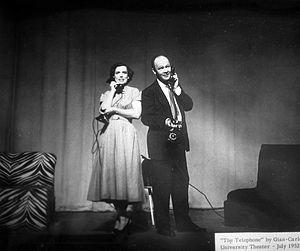 Paul Hume - Paul Hume and Marie Handy performing Gian Carlo Menotti's comic opera The Telephone, or L'Amour à trois at Catholic University, Washington DC, 1952