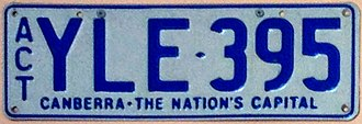 Vehicle registration plates of the Australian Capital Territory - Canberra – The Nation's Capital