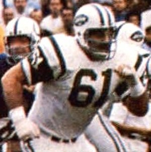 Super Bowl III - Jets' guard Bob Talamini pictured during a play in Super Bowl III