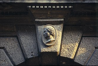 Palazzo Giusti - Main entrance Giusti's Palace keystone, with rustic quoins and face of man