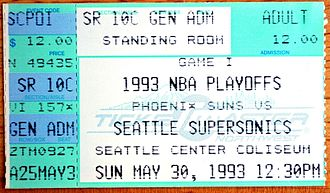 1992–93 NBA season - A ticket for Game 4 of the 1993 Western Conference Finals between the Seattle SuperSonics and the Phoenix Suns.