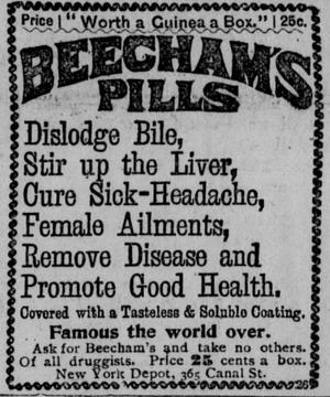 Beecham's Pills - Advertisement in Los Angeles Herald,  July 20, 1893