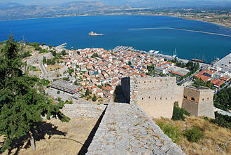 Nafplio - View of the old part of the city of Nafplio from Palamidi castle.