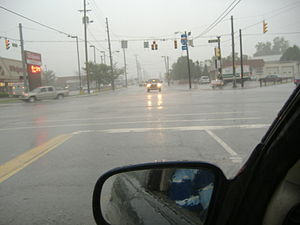 2009 Kentuckiana Flash Flood - Emergency response during the flooding, at 10th in Spring at Jeffersonville