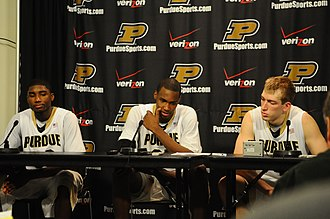 2009–10 Purdue Boilermakers men's basketball team - Image: 20100123 Moore, Johnson and Hummel at a press conference